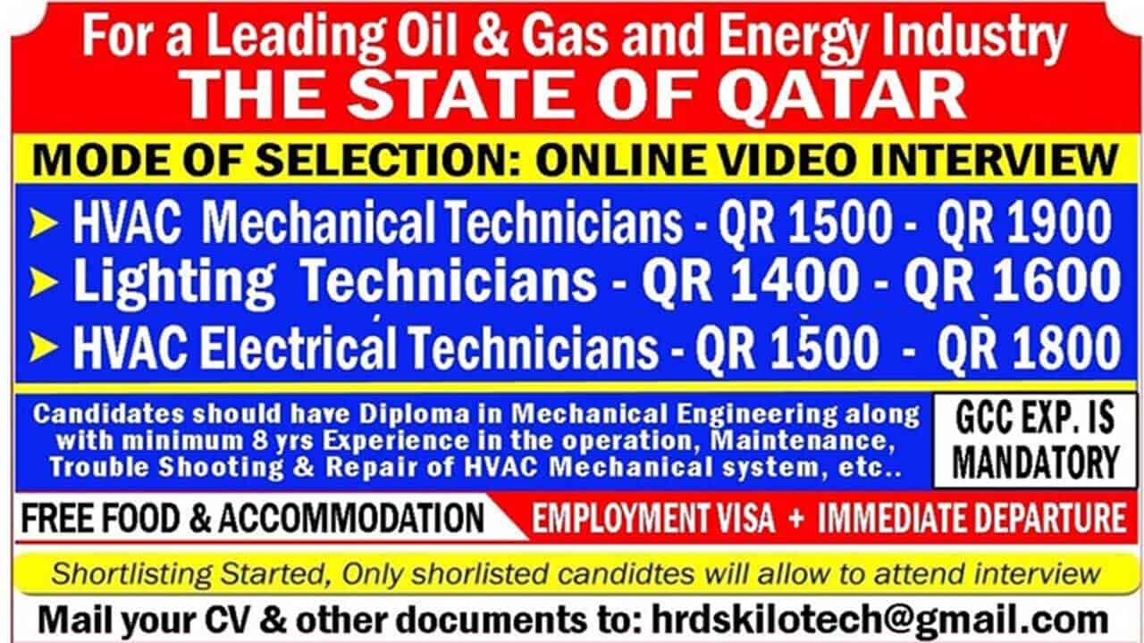 3 Urgent jobs in Qatar 2021 for Oil & Gas And Energy Industry