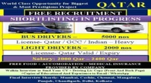 Bus Driver Jobs in Qatar Free Requirement 2021
