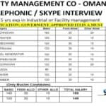 OMAN JOB OPPORTUNITY FOR FACILITY MANAGEMENT CO – OMAN