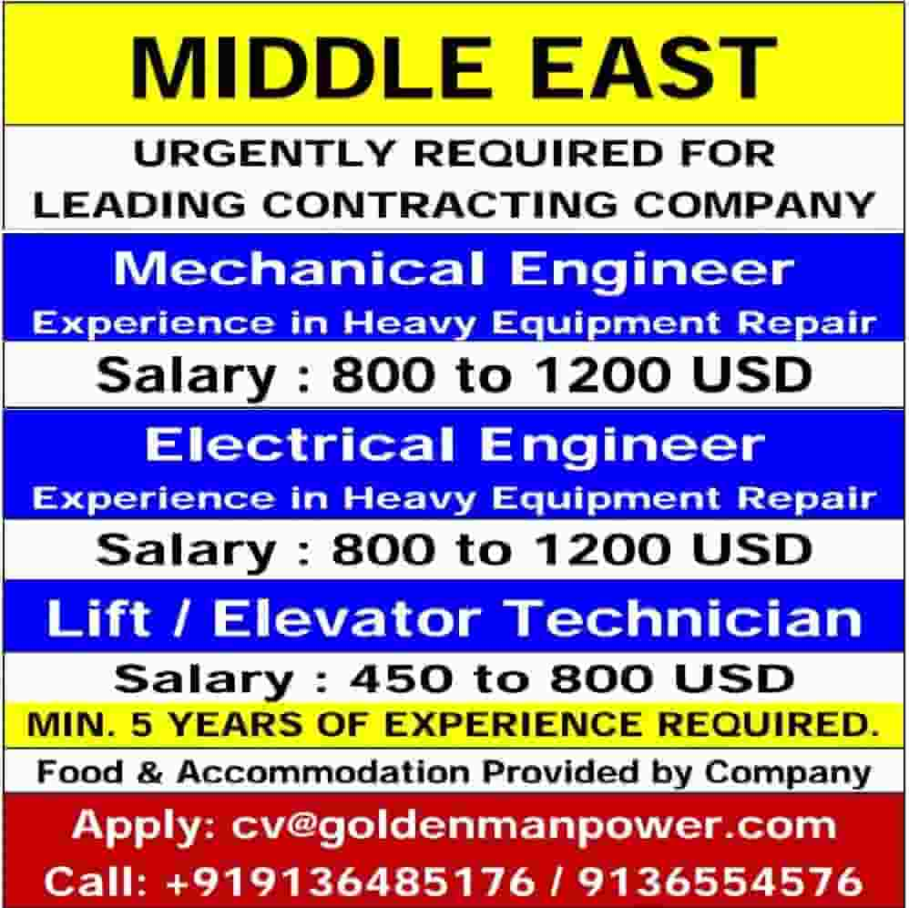 UAE Jobs Hiring for Leading Contracting Co.