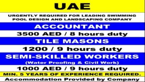 UAE Jobs Vacancy 2021 for Swimming Pool Design & Landscaping