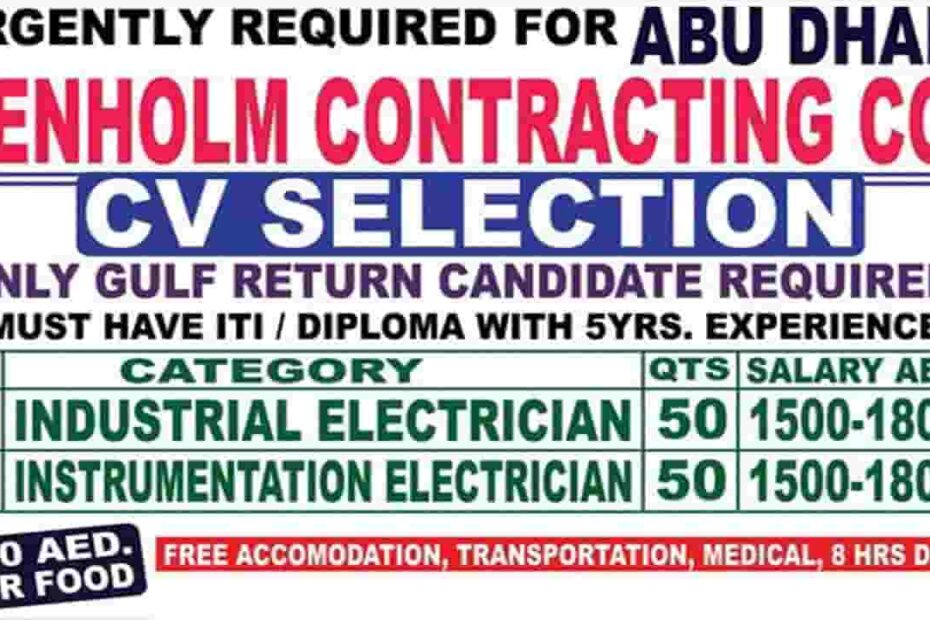 2 Post For Abu Dhabi Jobs 2021 For Denholm contracting co.