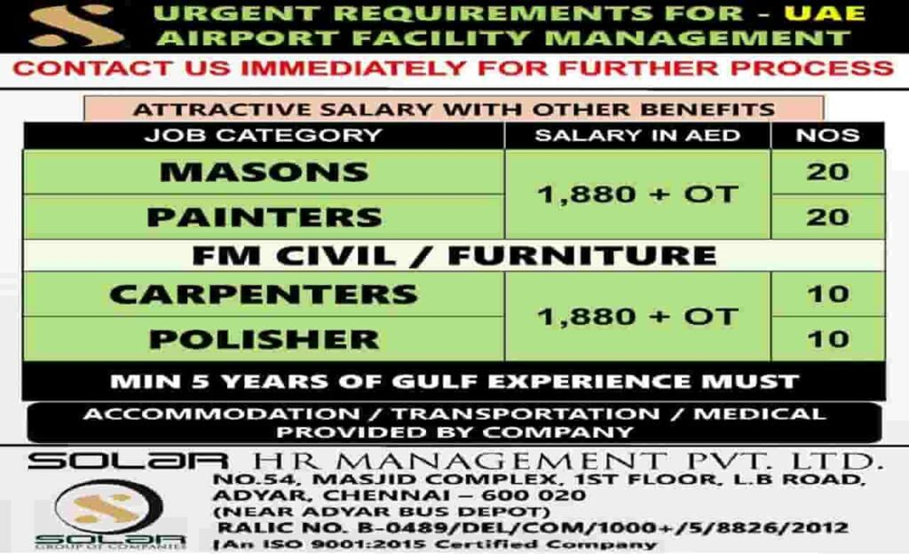Urgent Jobs in Dubai 2021 for Airport Facility Management Co.