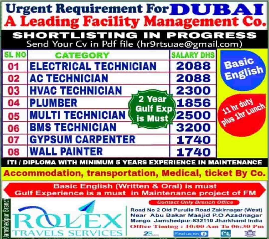 Rolex Required for A leading Facility Management co. in Dubai