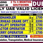 Dubai Jobs alert Required A Leading company for 3 to 4 Months Shutdown