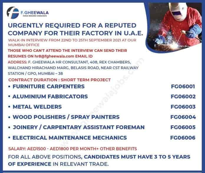 Dubai Jobs alert Urgent Required for Reputed Company for Factory Interview on 22 to 25 Sep
