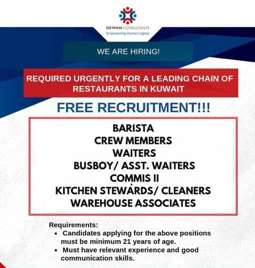 Kuwait Jobs Alert Free Requirement for a leading chain Restaurants