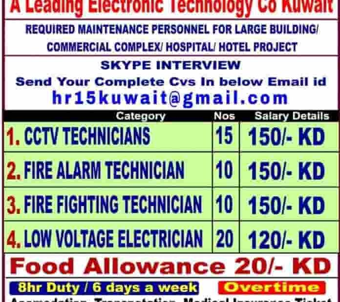 Kuwait Jobs Alert Required for a leading Electronic Technology Co.