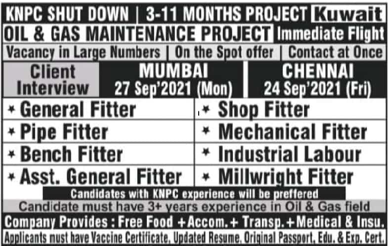 Kuwait Jobs Alert Urgent Required Oil And Gas Maintenance for 3 to 11 Month Project