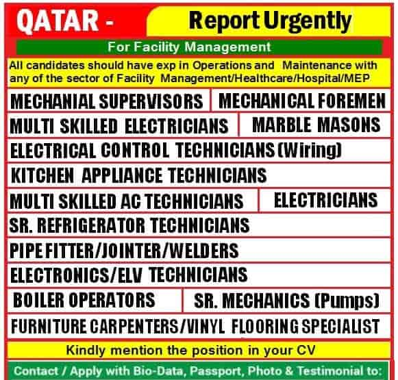 Qatar Jobs Alert 2021 Report Urgently Only for Operations and Maintenance Experience Candidates.