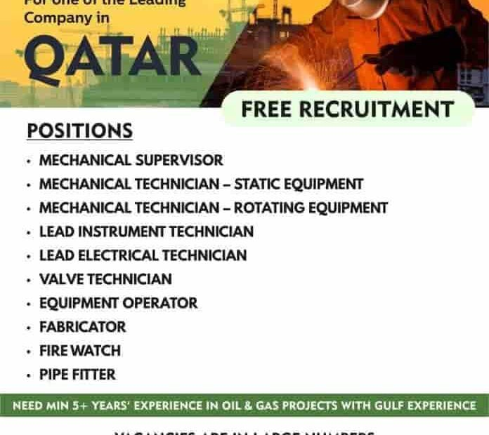 Qatar Jobs Alert Free Requirement for One of the Leading Company 2021