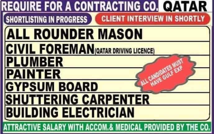 Qatar Jobs Alert Required Contracting Co. Only for Gulf Experience