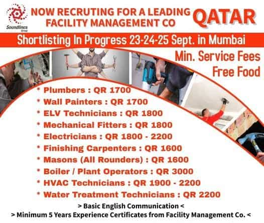 Qatar Jobs Alert Requirement for Facility Management and Interview on 23, 24, 25 Sep