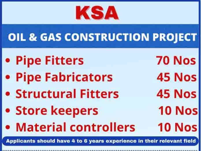 Saudi Jobs Alert Required for Oil And Gas Contraction Project 2021