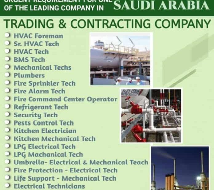 Saudi Jobs Alert Urgent Requirement for Trading And Contracting Co in Sep 2021