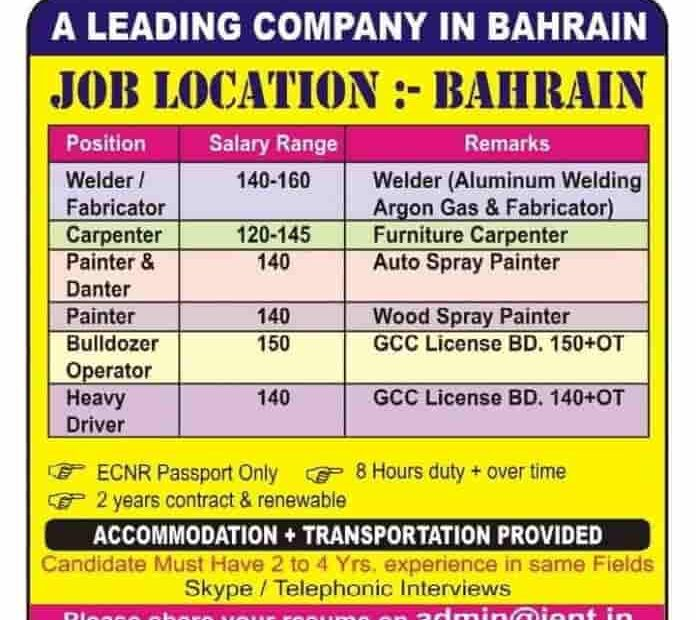 Urgent A Leading Company in Bahrain Jobs Only for ECNR Passport.