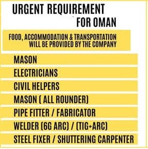Urgent Oman Jobs Alert 2021 food, Accommodation, And transportation Provided by Company