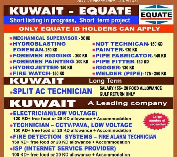 Urgent Required for Kuwait Equate in 2021
